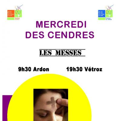 Flyer messe des cendres Ardon Vétroz