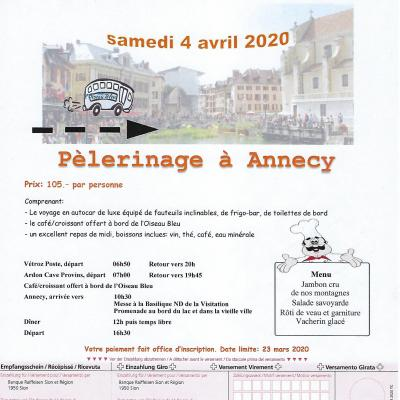 Flyer Pèlerinage Annecy 04.04.2020